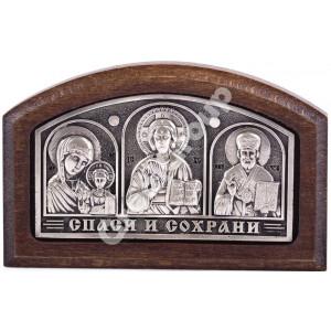 Икона тройник в машину  (серебряная)